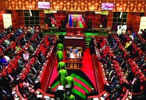 Kenya's Supreme Court judges file into the chamber during the opening of the 11th Parliament in the capital Nairobi April 16, 2013. REUTERS/Noor Khamis (KENYA - Tags: POLITICS)