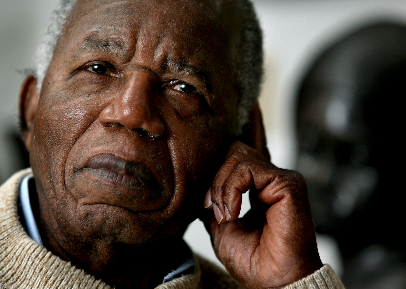 Chinua Achebe, Nigerian-born novelist and poet poses at his home as he reflects on his works and life at his home on the campus of Bard College in Annandale-on-Hudson, New York where he is a professor Tuesday, Jan. 22, 2008. (AP Photo/Craig Ruttle)